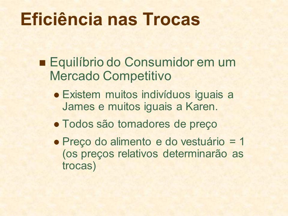 Eficiência nas Trocas Equilíbrio do Consumidor em um Mercado Competitivo Existem muitos indivíduos iguais a James e muitos iguais a Karen. Todos são t