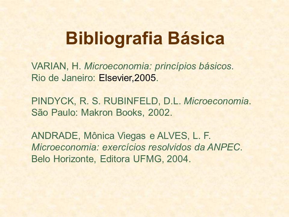 Bibliografia Básica VARIAN, H. Microeconomia: princípios básicos. Rio de Janeiro: Elsevier,2005. PINDYCK, R. S. RUBINFELD, D.L. Microeconomia. São Pau