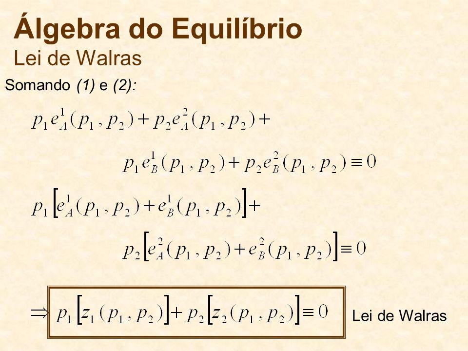 Álgebra do Equilíbrio Lei de Walras Somando (1) e (2): Lei de Walras
