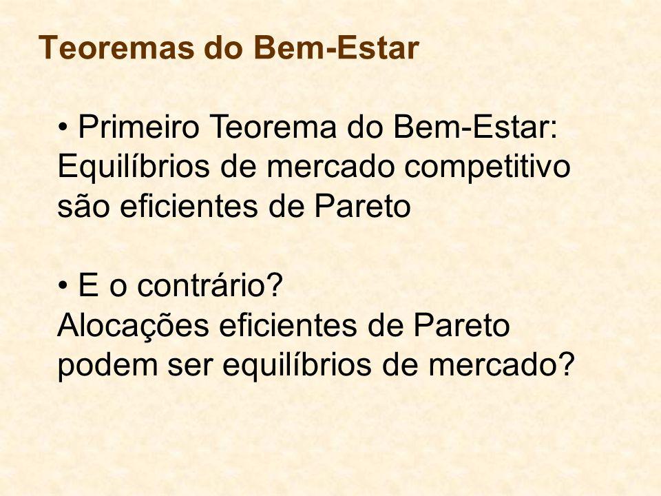 Teoremas do Bem-Estar Primeiro Teorema do Bem-Estar: Equilíbrios de mercado competitivo são eficientes de Pareto E o contrário? Alocações eficientes d