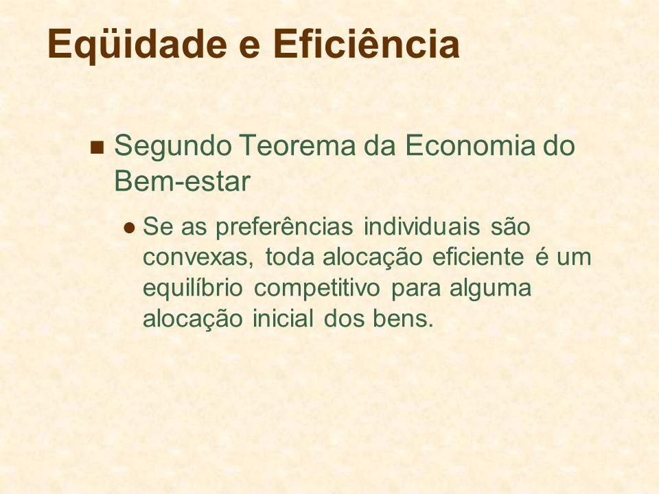 Eqüidade e Eficiência Segundo Teorema da Economia do Bem-estar Se as preferências individuais são convexas, toda alocação eficiente é um equilíbrio co