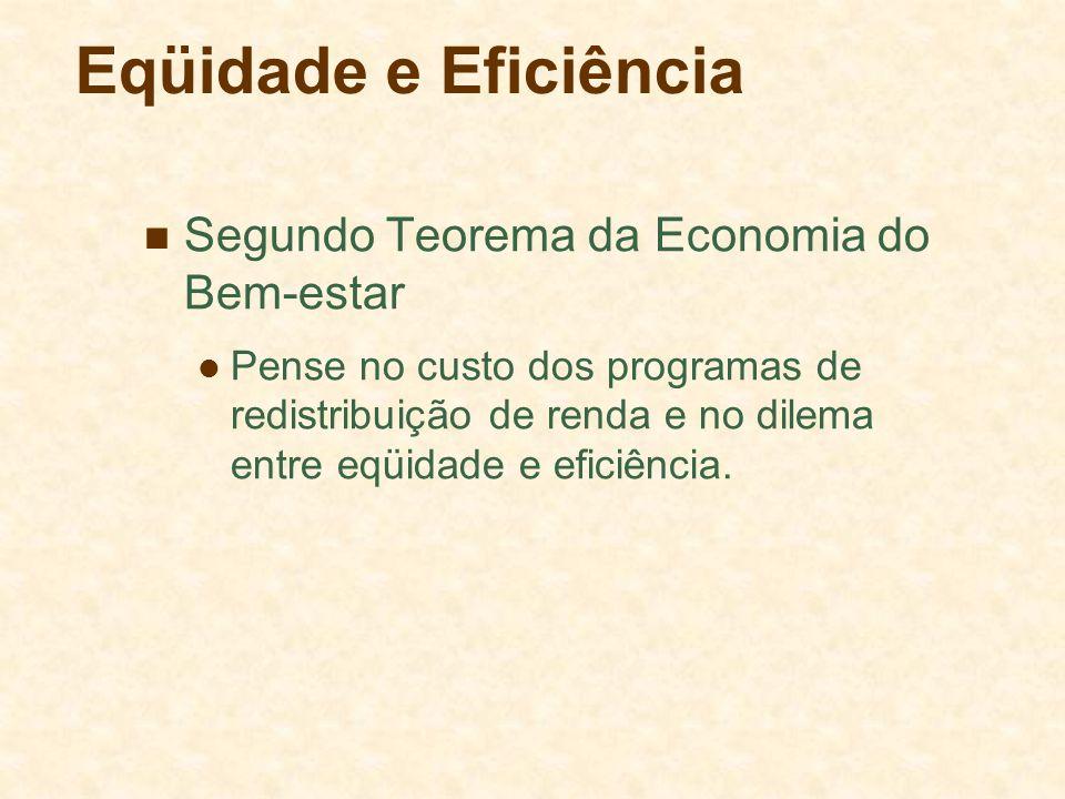 Eqüidade e Eficiência Segundo Teorema da Economia do Bem-estar Pense no custo dos programas de redistribuição de renda e no dilema entre eqüidade e ef