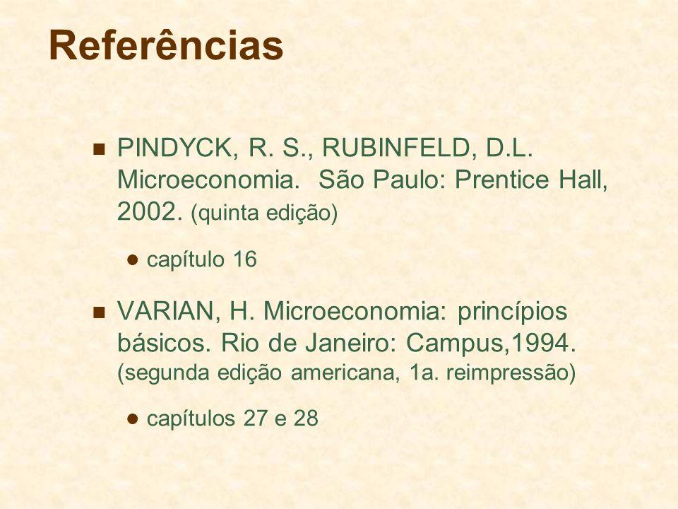 Referências PINDYCK, R. S., RUBINFELD, D.L. Microeconomia. São Paulo: Prentice Hall, 2002. (quinta edição) capítulo 16 VARIAN, H. Microeconomia: princ