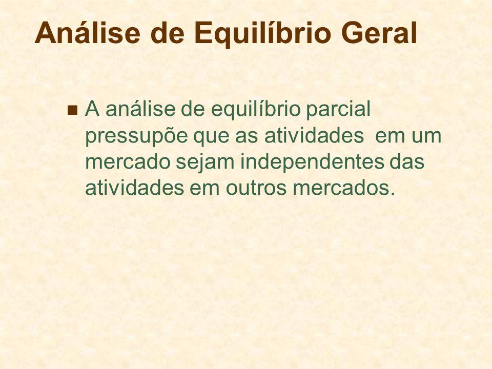 Análise de Equilíbrio Geral A análise de equilíbrio parcial pressupõe que as atividades em um mercado sejam independentes das atividades em outros mer