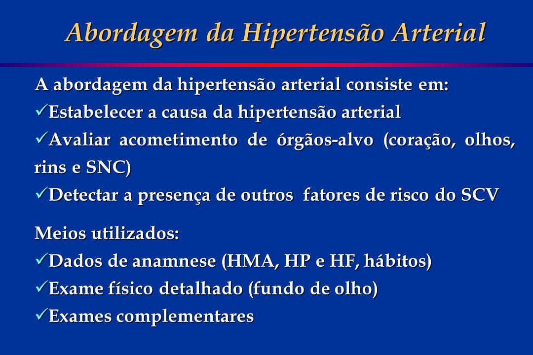 A abordagem da hipertensão arterial consiste em: Estabelecer a causa da hipertensão arterial Estabelecer a causa da hipertensão arterial Avaliar acome
