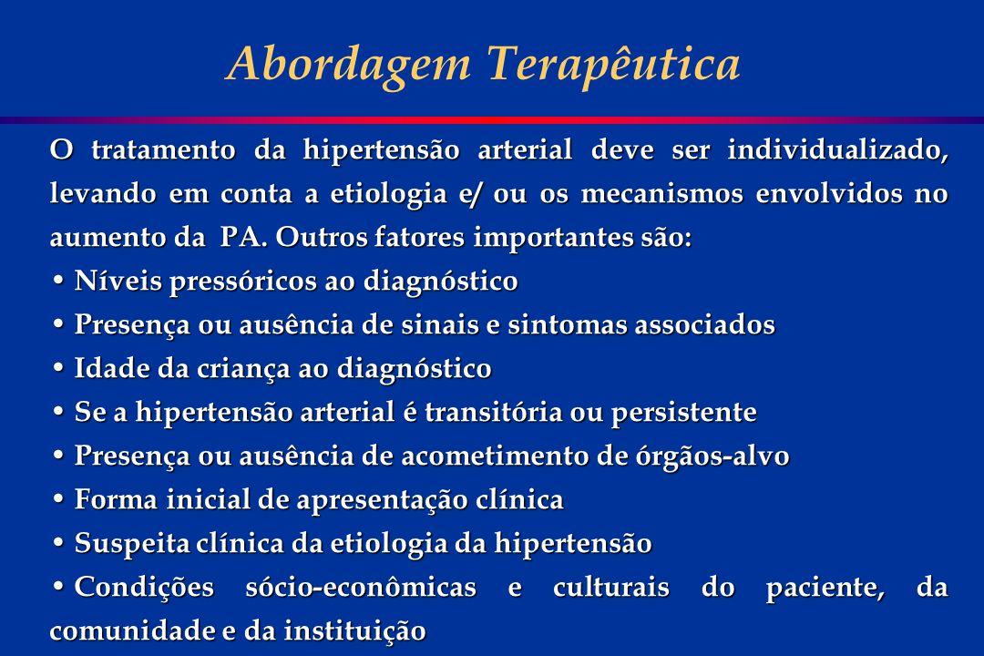 O tratamento da hipertensão arterial deve ser individualizado, levando em conta a etiologia e/ ou os mecanismos envolvidos no aumento da PA. Outros fa