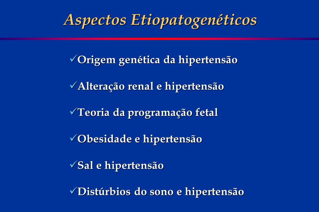 Aspectos Etiopatogenéticos Origem genética da hipertensão Origem genética da hipertensão Alteração renal e hipertensão Alteração renal e hipertensão T