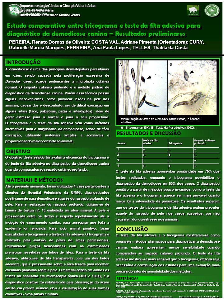 Estudo comparativo entre tricograma e teste da fita adesiva para diagnóstico da demodicose canina – Resultados preliminares PEREIRA, Renato Dornas de