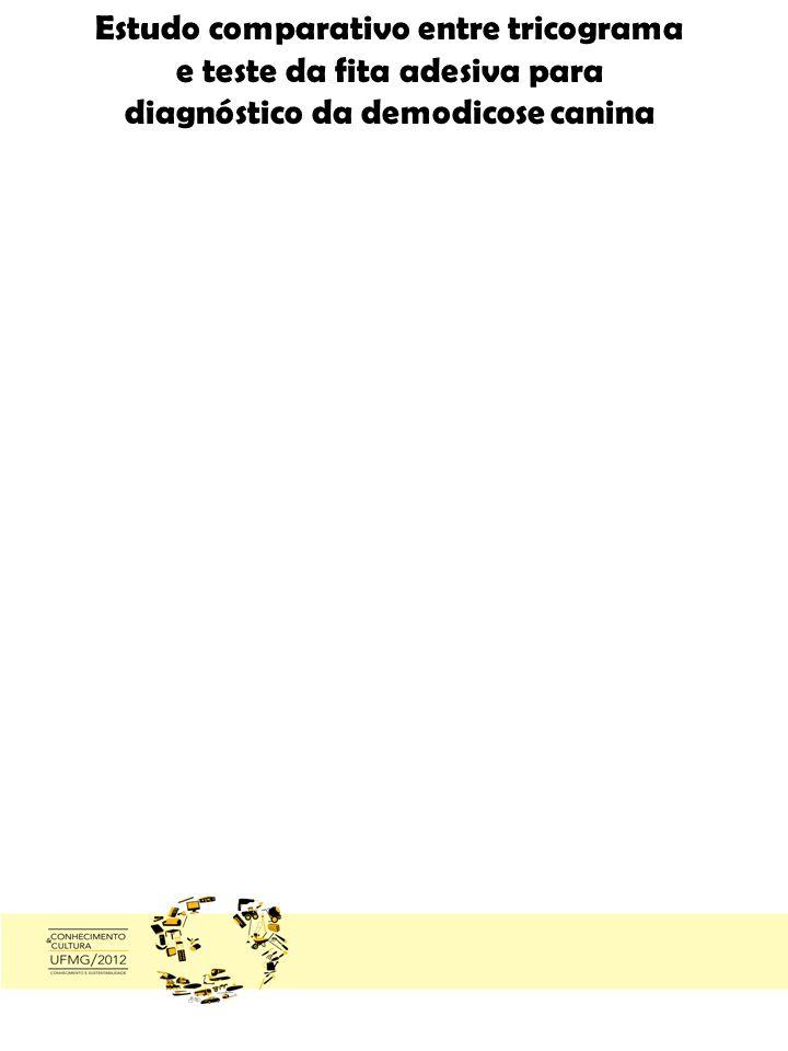 Estudo comparativo entre tricograma e teste da fita adesiva para diagnóstico da demodicose canina Pucca Maria de Souza, Lilica Repelica del Fogon y Fogon, Roberto Esponja e Adriane Pimenta da Costa Val a a: Escola de Veterinária da UFMG, b: Pontifícia Universidade Católica do Chile, c: Universidade Aquática da Fenda do Biquini.