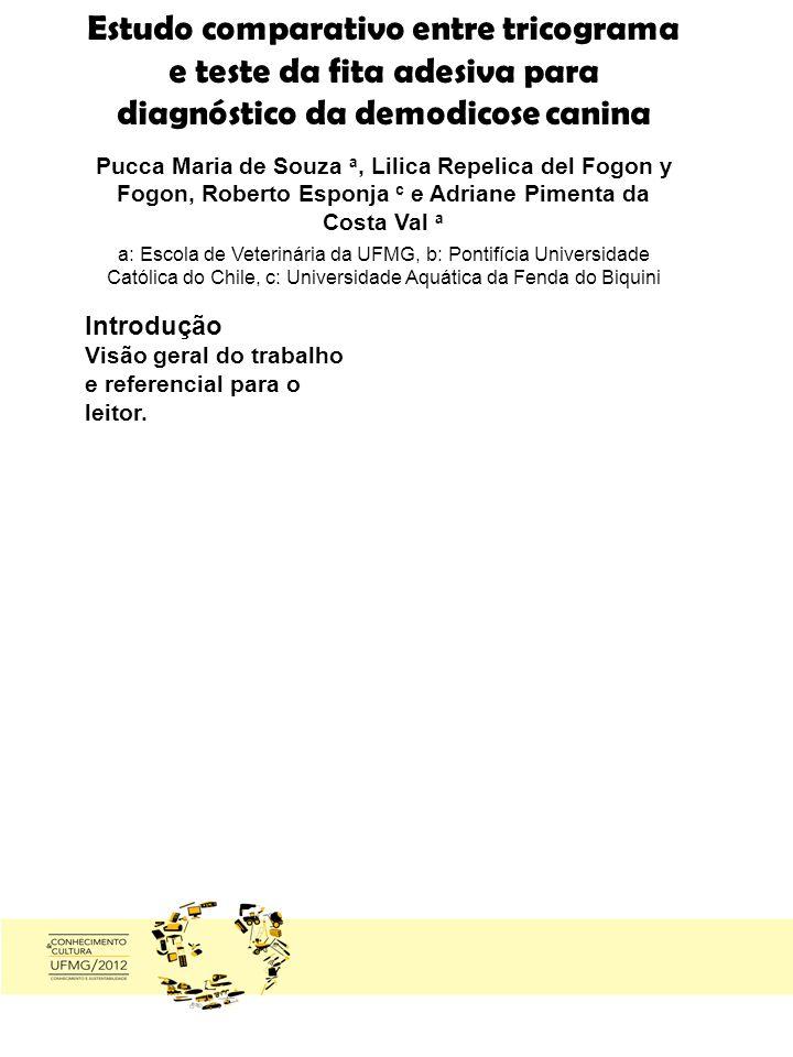 Estudo comparativo entre tricograma e teste da fita adesiva para diagnóstico da demodicose canina Pucca Maria de Souza a, Lilica Repelica del Fogon y