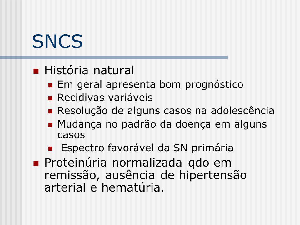 SNCS História natural Em geral apresenta bom prognóstico Recidivas variáveis Resolução de alguns casos na adolescência Mudança no padrão da doença em