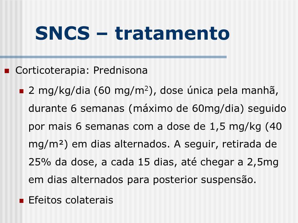 Corticoterapia: Prednisona 2 mg/kg/dia (60 mg/m 2 ), dose única pela manhã, durante 6 semanas (máximo de 60mg/dia) seguido por mais 6 semanas com a do