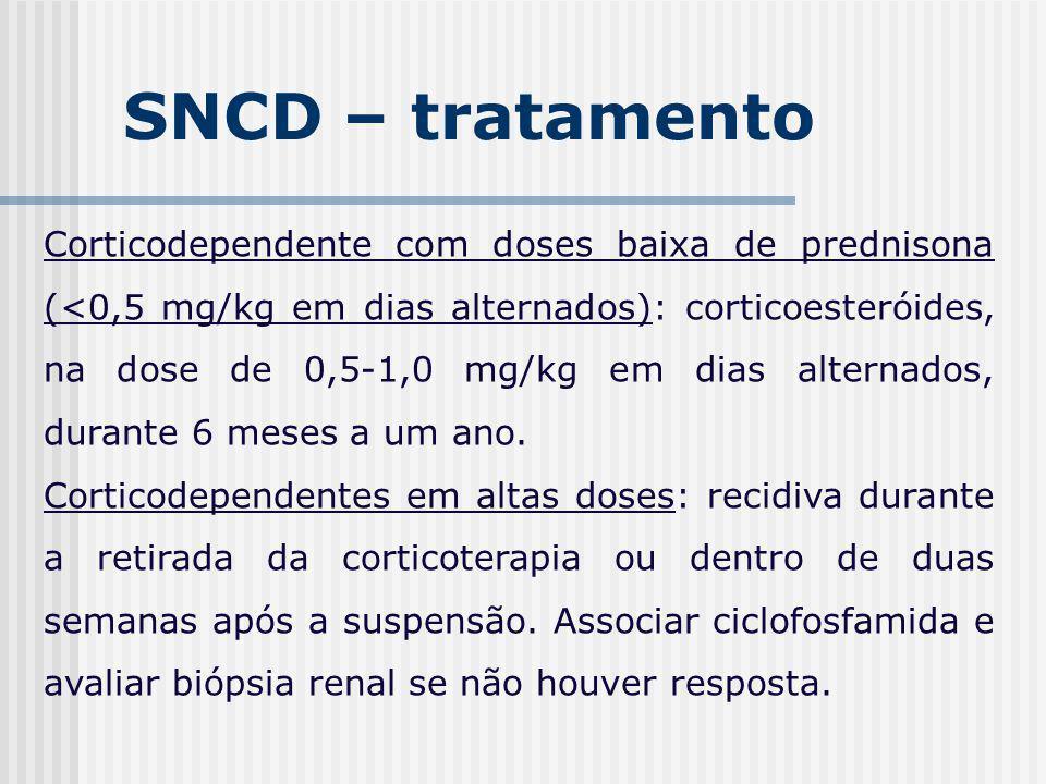 SNCD – tratamento Corticodependente com doses baixa de prednisona (<0,5 mg/kg em dias alternados): corticoesteróides, na dose de 0,5-1,0 mg/kg em dias