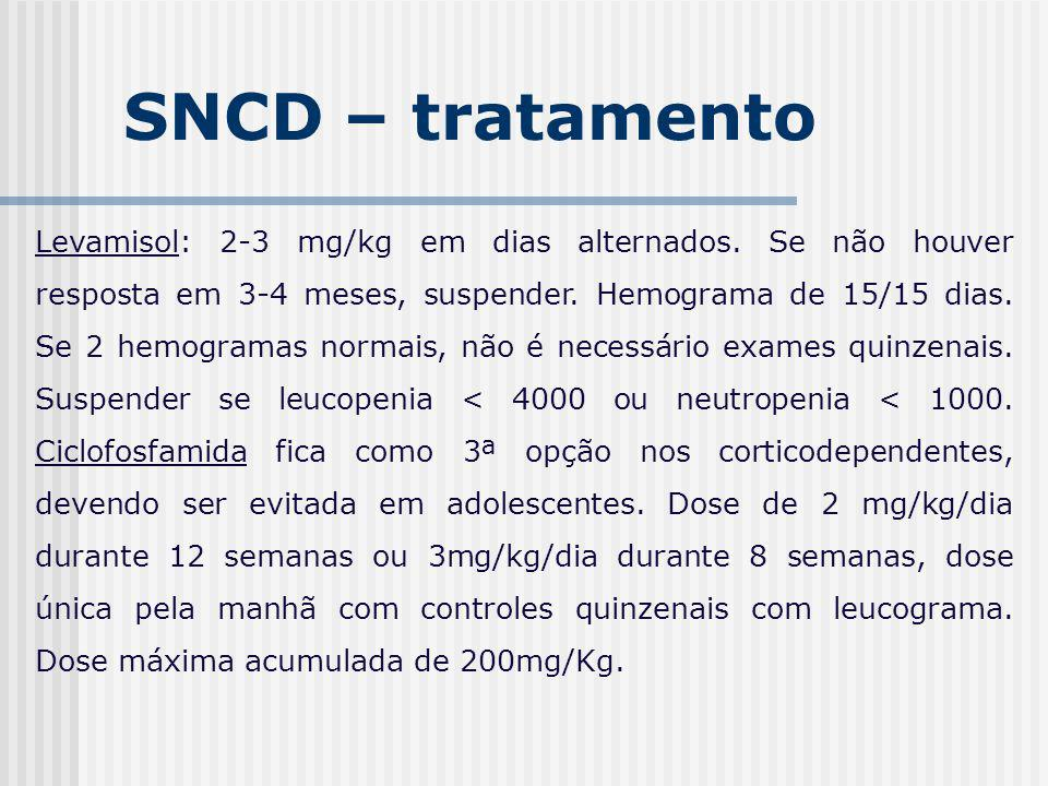 SNCD – tratamento Levamisol: 2-3 mg/kg em dias alternados. Se não houver resposta em 3-4 meses, suspender. Hemograma de 15/15 dias. Se 2 hemogramas no