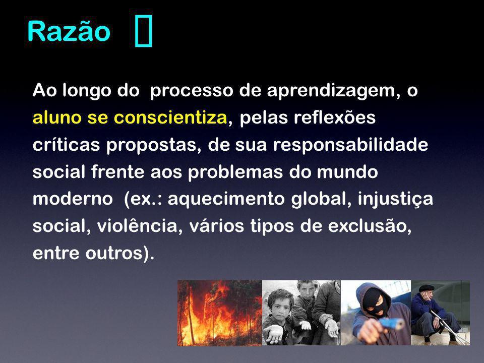 Ao longo do processo de aprendizagem, o aluno se conscientiza, pelas reflexões críticas propostas, de sua responsabilidade social frente aos problemas