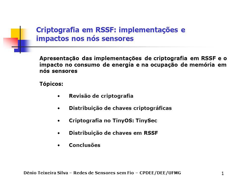 1 Criptografia em RSSF: implementações e impactos nos nós sensores Revisão de criptografia Distribuição de chaves criptográficas Criptografia no TinyO