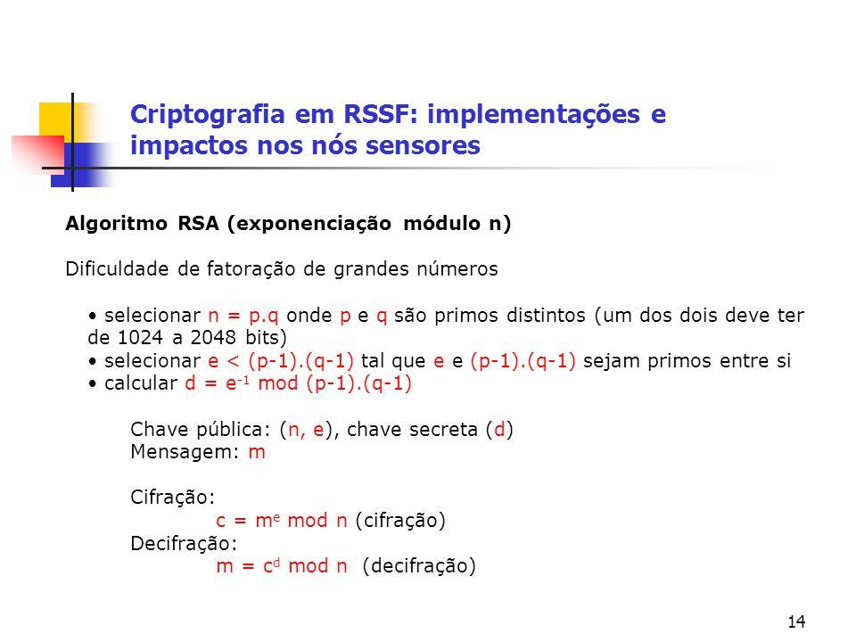 14 Criptografia em RSSF: implementações e impactos nos nós sensores Algoritmo RSA (exponenciação módulo n) Dificuldade de fatoração de grandes números