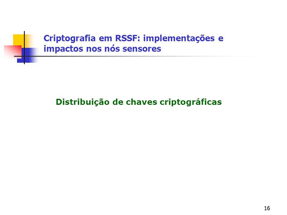 16 Distribuição de chaves criptográficas Criptografia em RSSF: implementações e impactos nos nós sensores