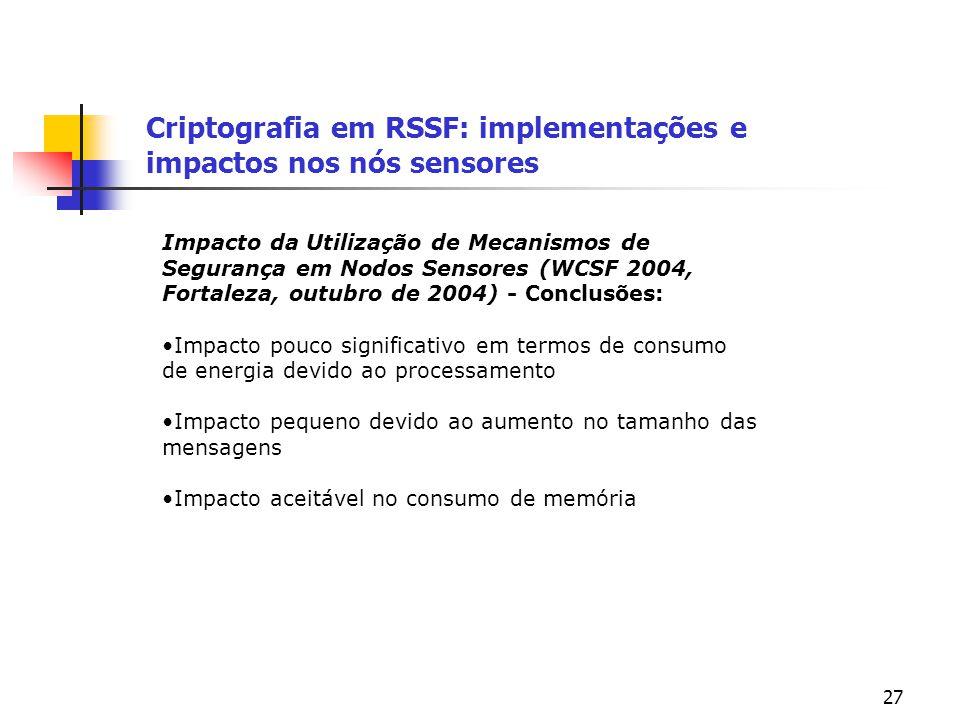 27 Criptografia em RSSF: implementações e impactos nos nós sensores Impacto da Utilização de Mecanismos de Segurança em Nodos Sensores (WCSF 2004, For