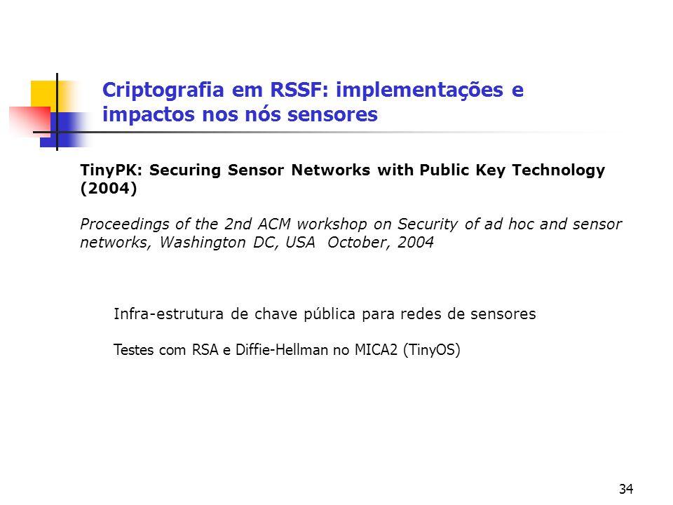 34 Criptografia em RSSF: implementações e impactos nos nós sensores TinyPK: Securing Sensor Networks with Public Key Technology (2004) Proceedings of