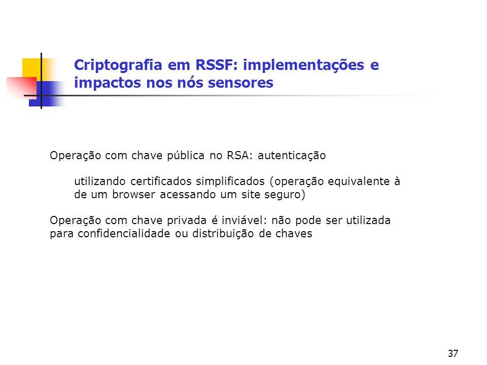 37 Criptografia em RSSF: implementações e impactos nos nós sensores Operação com chave pública no RSA: autenticação utilizando certificados simplifica