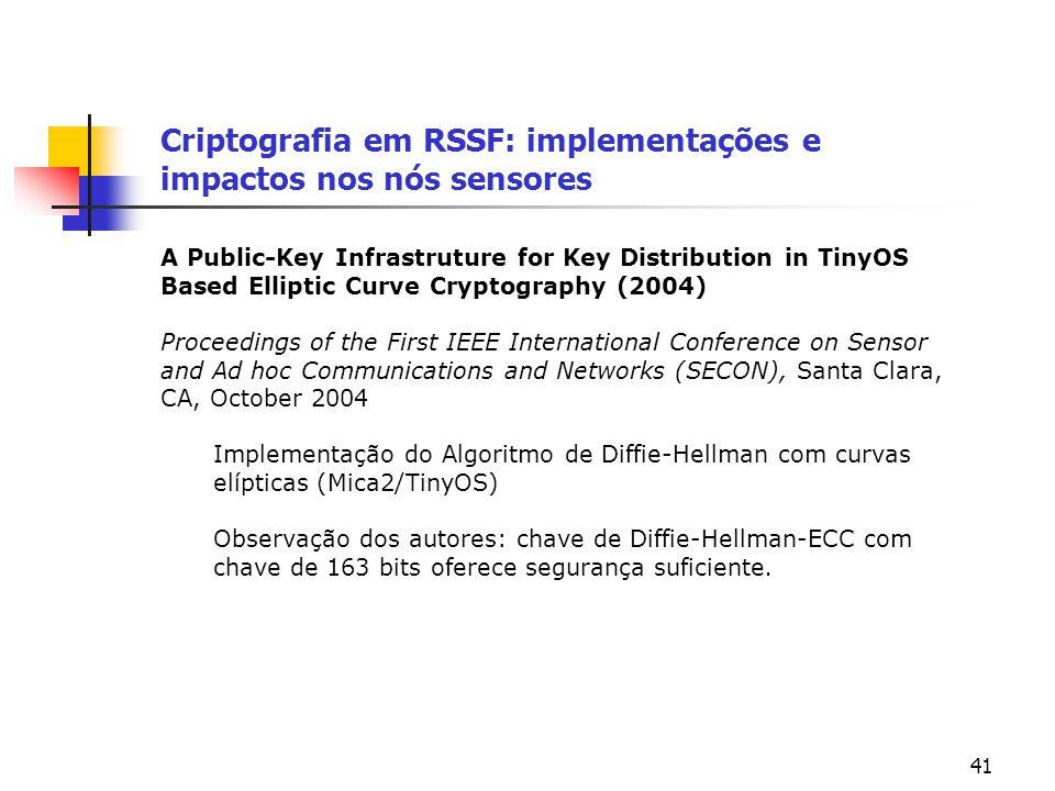 41 Criptografia em RSSF: implementações e impactos nos nós sensores A Public-Key Infrastruture for Key Distribution in TinyOS Based Elliptic Curve Cry