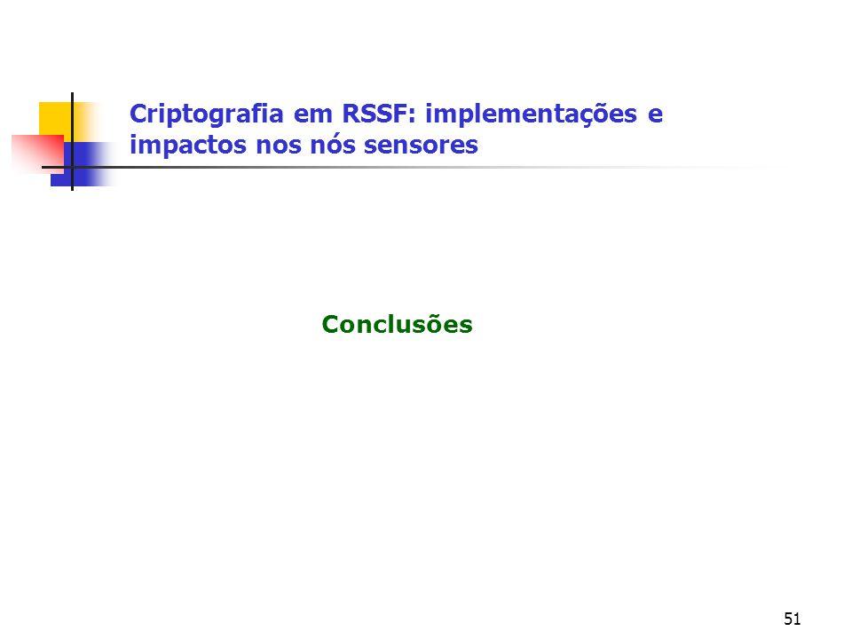 51 Conclusões Criptografia em RSSF: implementações e impactos nos nós sensores