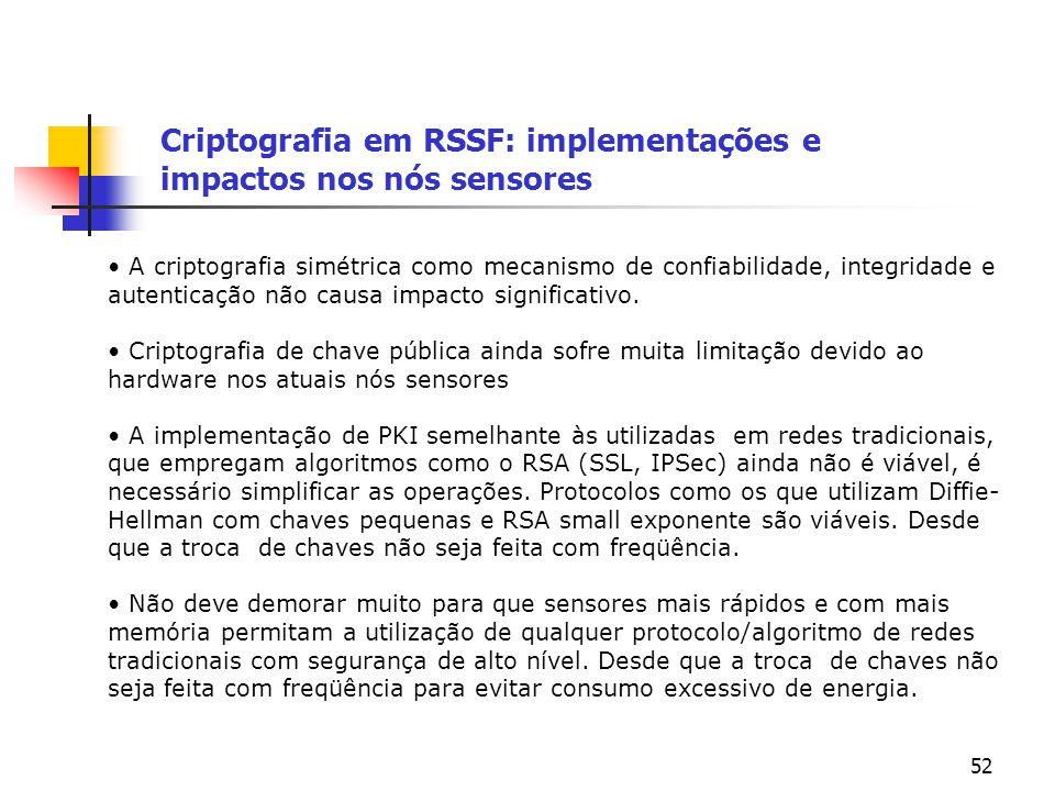 52 Criptografia em RSSF: implementações e impactos nos nós sensores A criptografia simétrica como mecanismo de confiabilidade, integridade e autentica