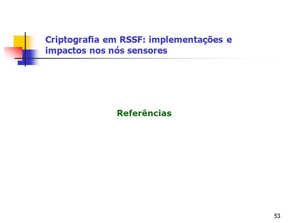 53 Referências Criptografia em RSSF: implementações e impactos nos nós sensores