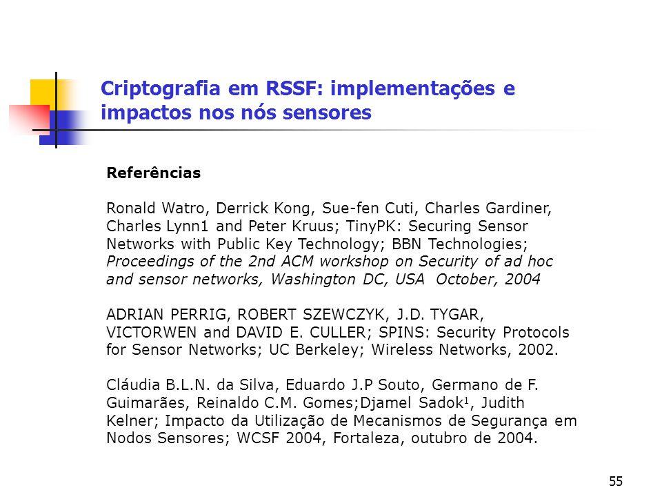 55 Criptografia em RSSF: implementações e impactos nos nós sensores Referências Ronald Watro, Derrick Kong, Sue-fen Cuti, Charles Gardiner, Charles Ly