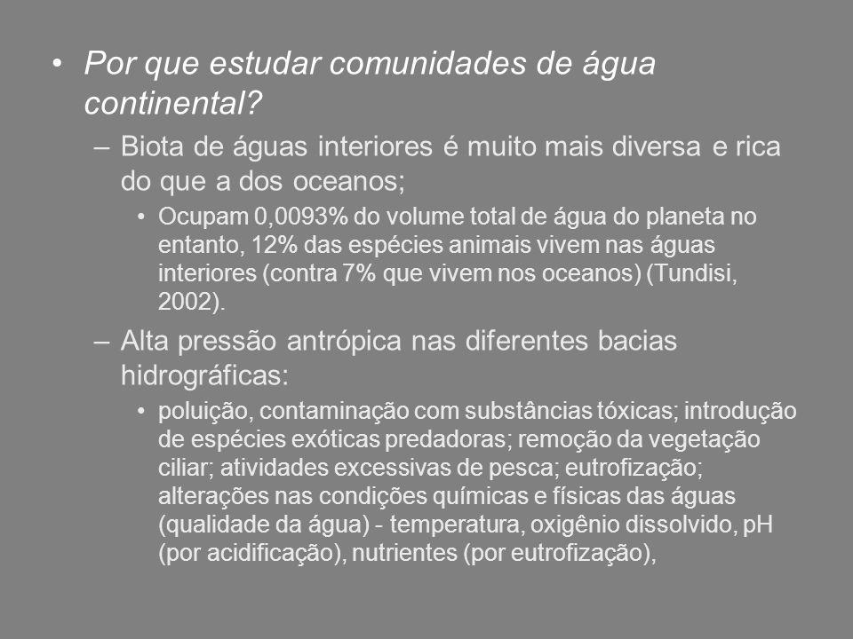 Por que estudar comunidades de água continental? –Biota de águas interiores é muito mais diversa e rica do que a dos oceanos; Ocupam 0,0093% do volume