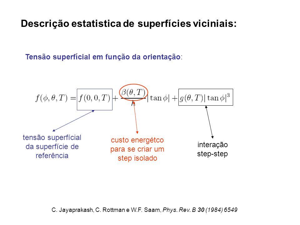 Tensão superfícial em função da orientação: Descrição estatistica de superfícies viciniais: tensão superfícial da superfície de referência custo energétco para se criar um step isolado interação step-step C.