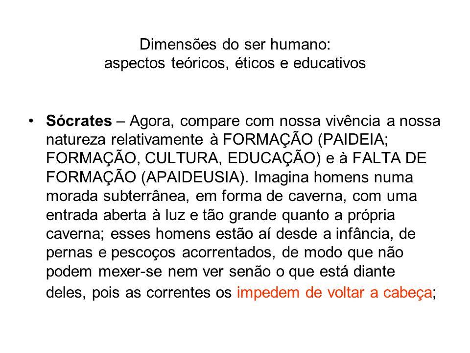 Dimensões do ser humano: aspectos teóricos, éticos e educativos Sócrates – Agora, compare com nossa vivência a nossa natureza relativamente à FORMAÇÃO