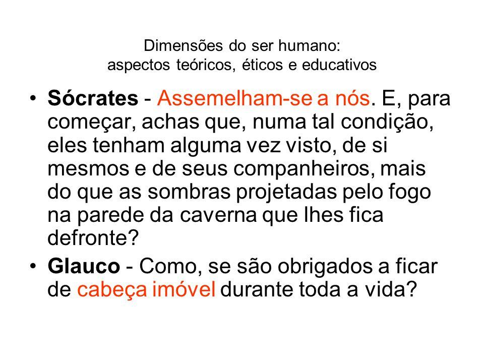 Dimensões do ser humano: aspectos teóricos, éticos e educativos Sócrates - Assemelham-se a nós. E, para começar, achas que, numa tal condição, eles te