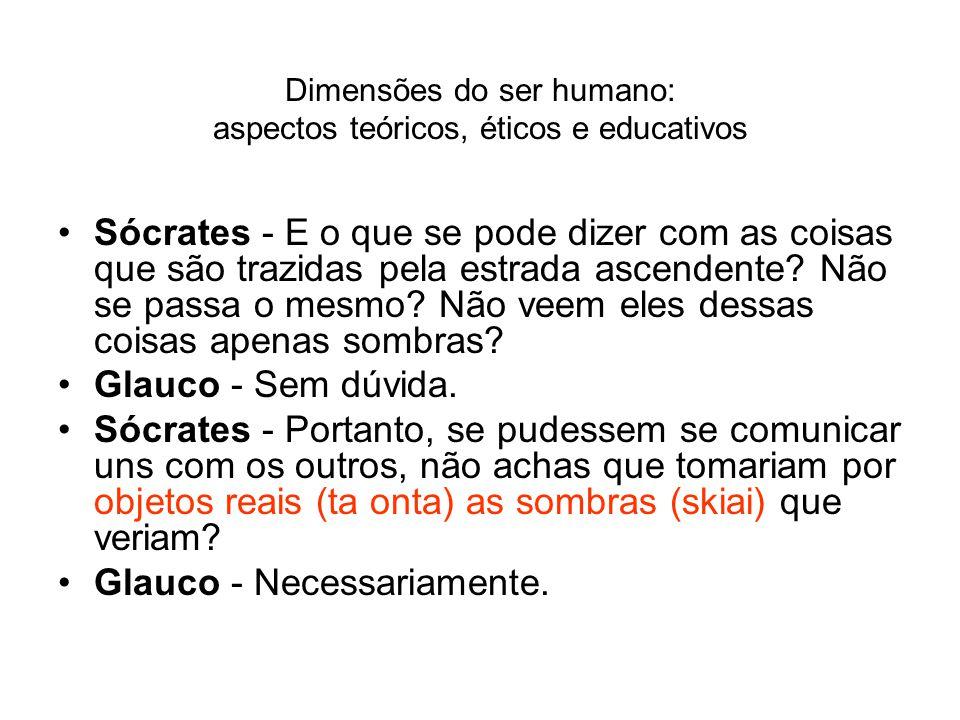 Dimensões do ser humano: aspectos teóricos, éticos e educativos Sócrates - E o que se pode dizer com as coisas que são trazidas pela estrada ascendent