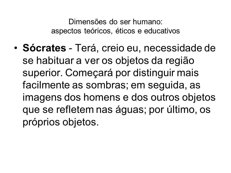 Dimensões do ser humano: aspectos teóricos, éticos e educativos Sócrates - Terá, creio eu, necessidade de se habituar a ver os objetos da região super