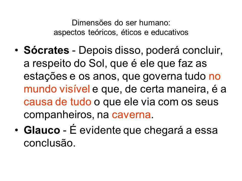 Dimensões do ser humano: aspectos teóricos, éticos e educativos Sócrates - Depois disso, poderá concluir, a respeito do Sol, que é ele que faz as esta