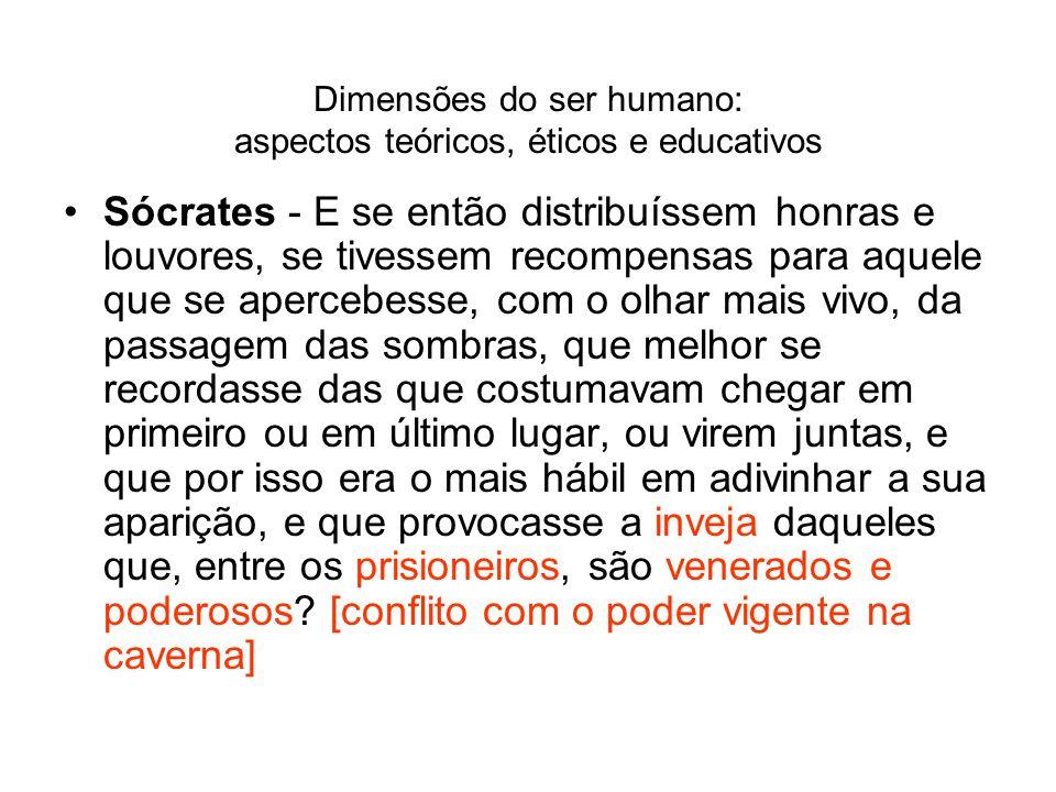 Dimensões do ser humano: aspectos teóricos, éticos e educativos Sócrates - E se então distribuíssem honras e louvores, se tivessem recompensas para aq