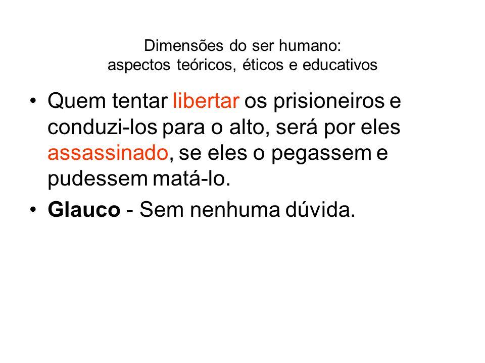 Dimensões do ser humano: aspectos teóricos, éticos e educativos Quem tentar libertar os prisioneiros e conduzi-los para o alto, será por eles assassin
