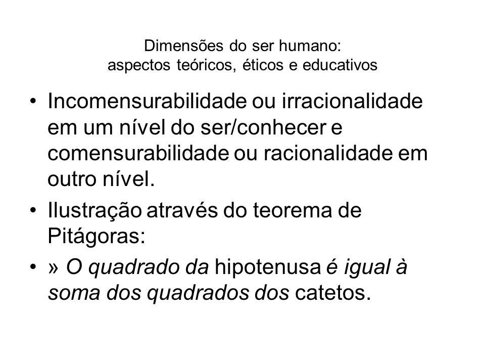 Dimensões do ser humano: aspectos teóricos, éticos e educativos Incomensurabilidade ou irracionalidade em um nível do ser/conhecer e comensurabilidade