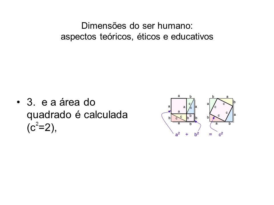 Dimensões do ser humano: aspectos teóricos, éticos e educativos 3. e a área do quadrado é calculada (c 2 =2),