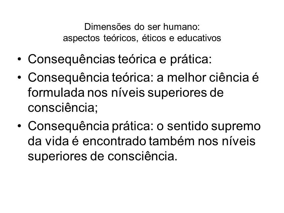 Dimensões do ser humano: aspectos teóricos, éticos e educativos Consequências teórica e prática: Consequência teórica: a melhor ciência é formulada no