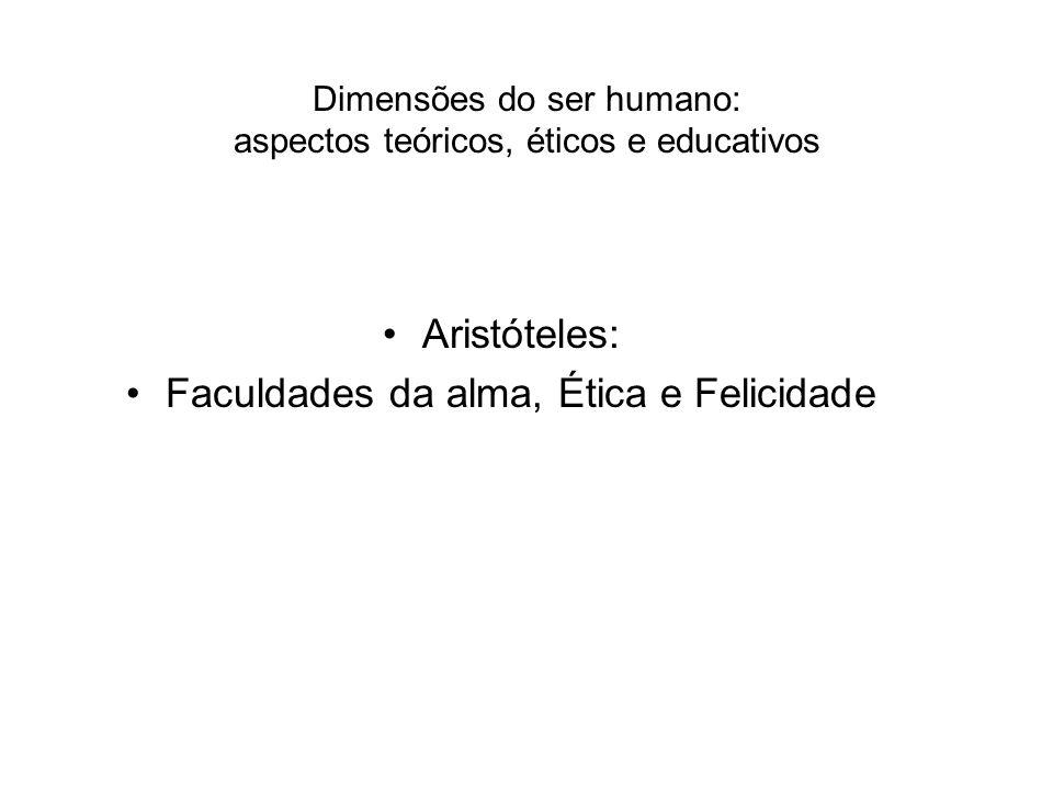 Dimensões do ser humano: aspectos teóricos, éticos e educativos Aristóteles: Faculdades da alma, Ética e Felicidade