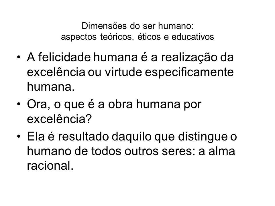 Dimensões do ser humano: aspectos teóricos, éticos e educativos A felicidade humana é a realização da excelência ou virtude especificamente humana. Or