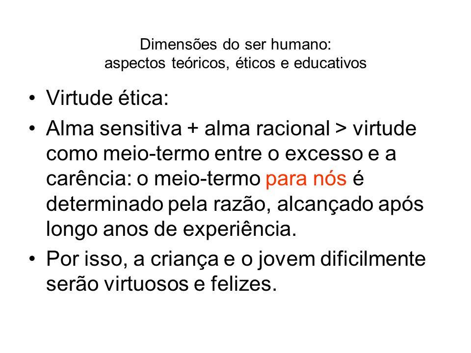 Dimensões do ser humano: aspectos teóricos, éticos e educativos Virtude ética: Alma sensitiva + alma racional > virtude como meio-termo entre o excess