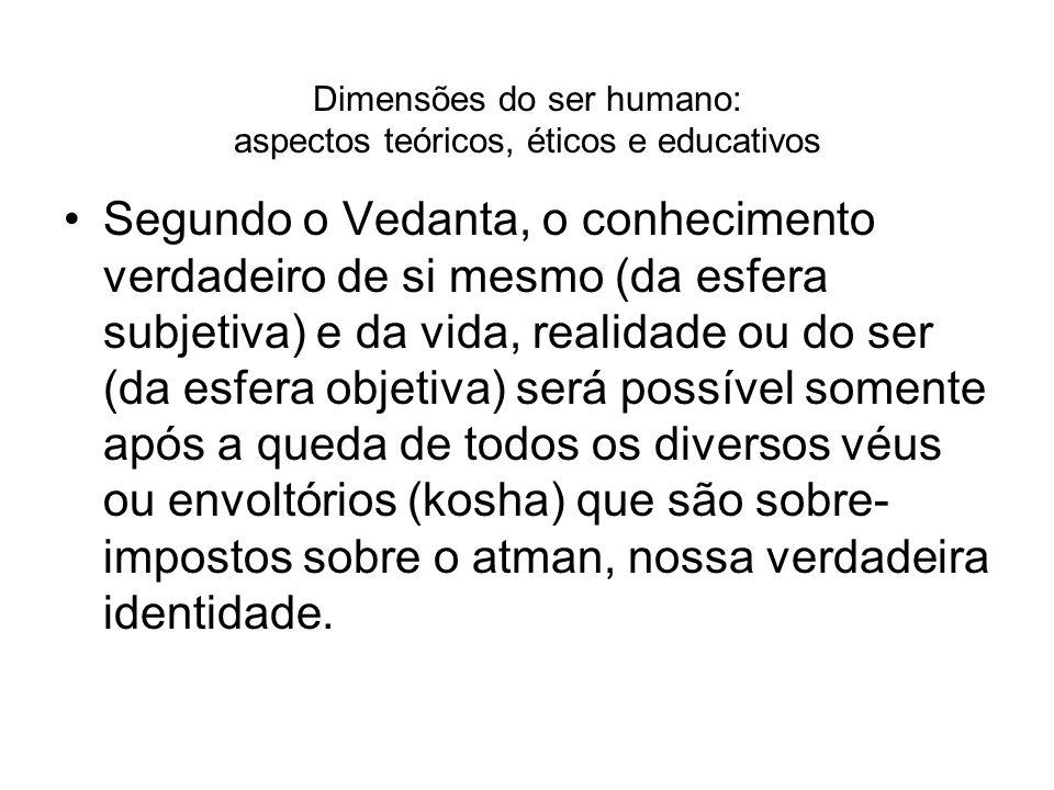 Dimensões do ser humano: aspectos teóricos, éticos e educativos Segundo o Vedanta, o conhecimento verdadeiro de si mesmo (da esfera subjetiva) e da vi