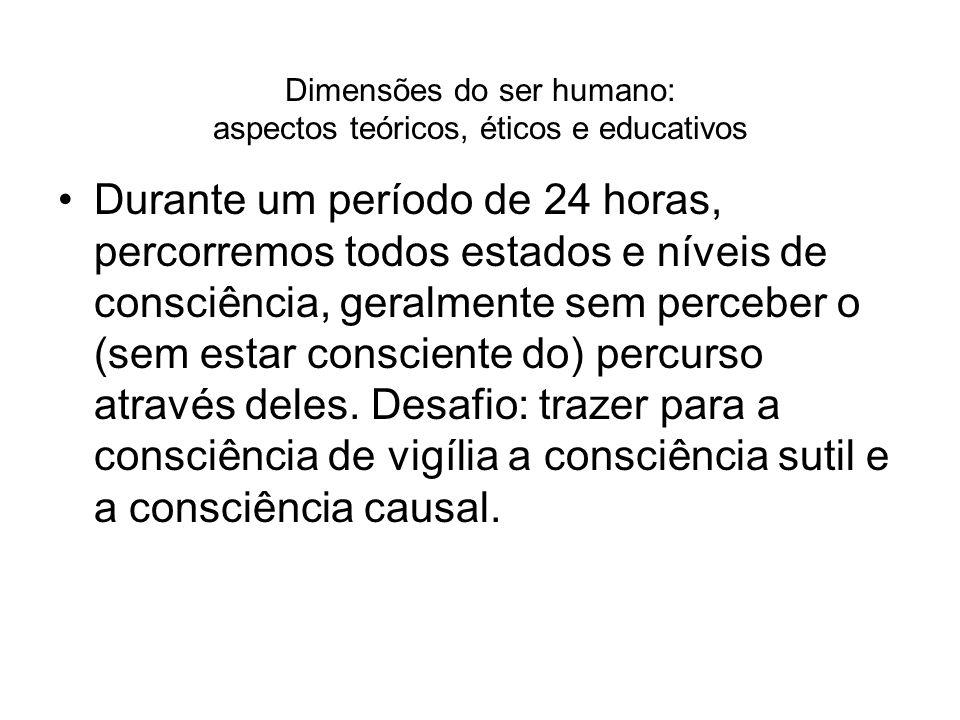 Dimensões do ser humano: aspectos teóricos, éticos e educativos Durante um período de 24 horas, percorremos todos estados e níveis de consciência, ger