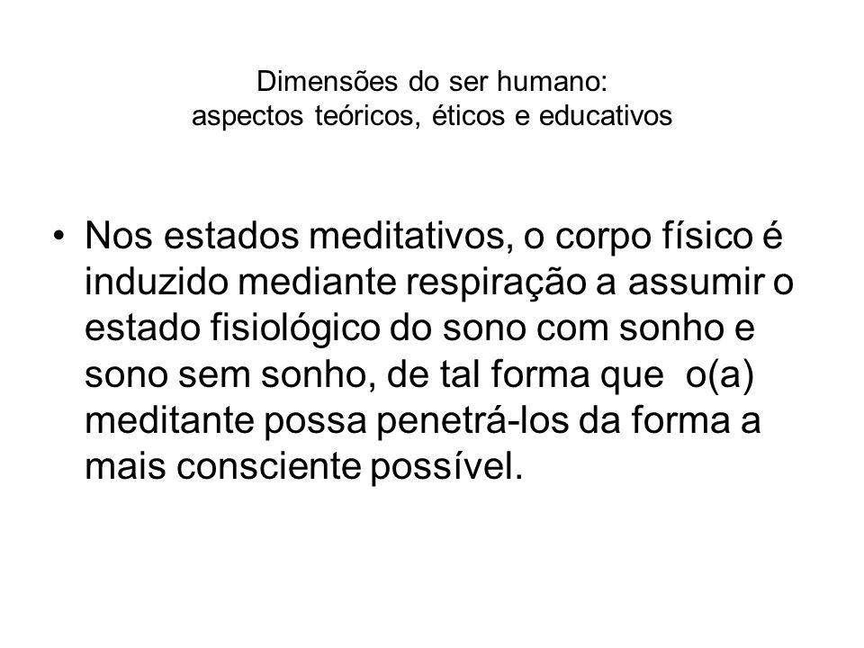 Dimensões do ser humano: aspectos teóricos, éticos e educativos Nos estados meditativos, o corpo físico é induzido mediante respiração a assumir o est