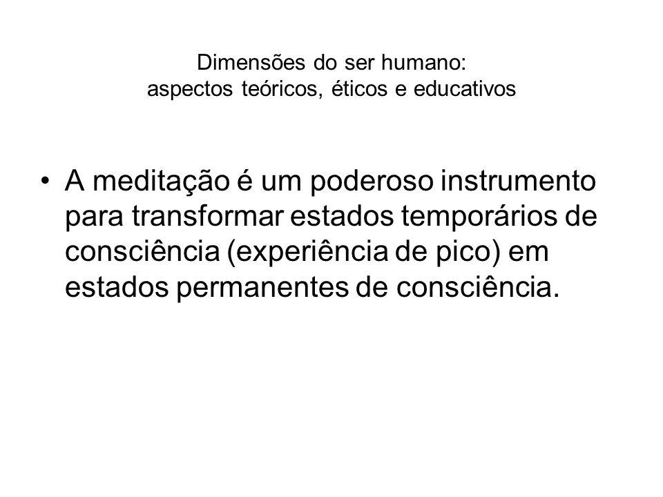 Dimensões do ser humano: aspectos teóricos, éticos e educativos A meditação é um poderoso instrumento para transformar estados temporários de consciên