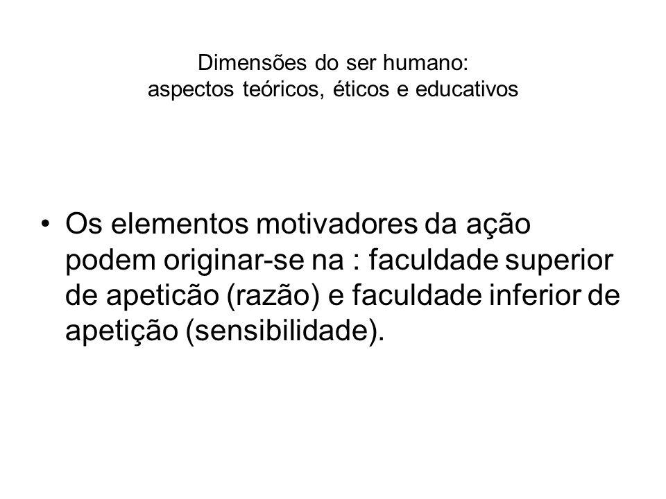 Dimensões do ser humano: aspectos teóricos, éticos e educativos Os elementos motivadores da ação podem originar-se na : faculdade superior de apeticão